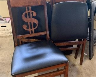 Awesome Vintage Card Table Chairs with $$$$ dollar signs money.