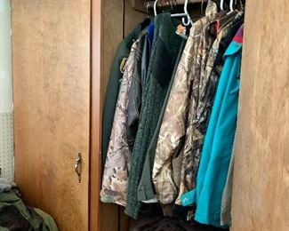 Wood Storage Cabinet / Closet For Sale along with all Hunting Clothing, boots & shoes