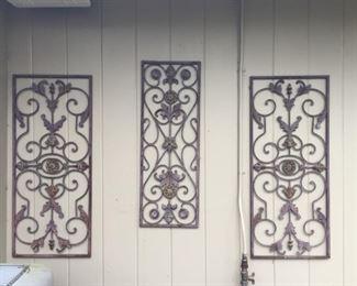 Metal wall hangings.