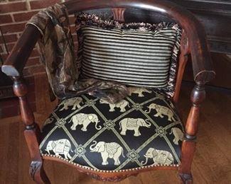 Fun elephant pattern wooden chair.