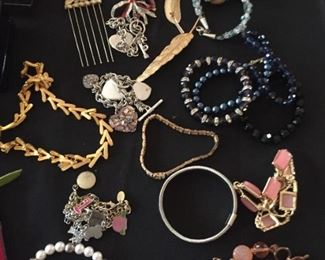 Selection of costume jewelry.