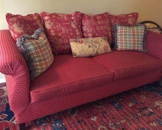 Red checked Norwalk Furniture Sofa.
