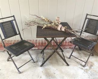 Three-piece folding patio set.