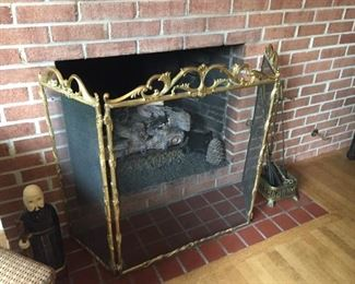 Fireplace screen and accessories.