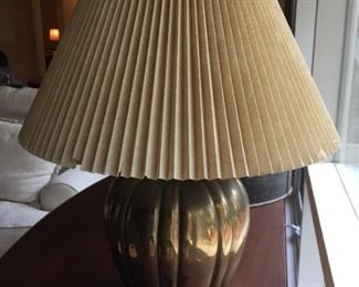 Brass lamp with shade.
