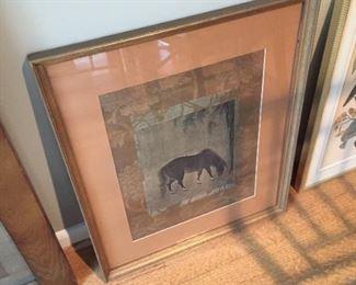 Framed print of horse.