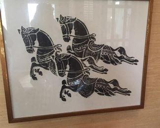 Framed etching.