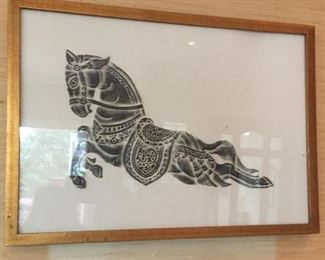 Framed Asian etching.