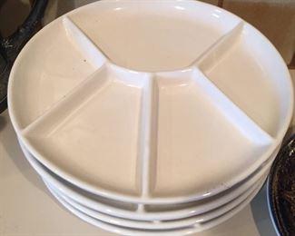 Set of white divided plates.