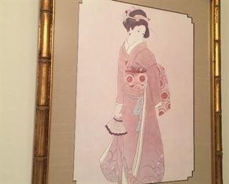 Framed Asian print.