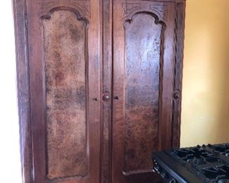 Large Armoire with two drawer on the bottom of the base Key Lock Burke's Wood Detail