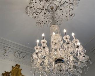 Venetiancrystal chandeliers, four available, measures 88 inches in height. These can be minimally altered to better fit a space by removing a small section at the top.