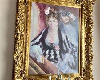 "$1200 - Roy Allison After Renoir oil painting  of  Renoir's La Loge in gilt wood frame -  54""H; 45""W"
