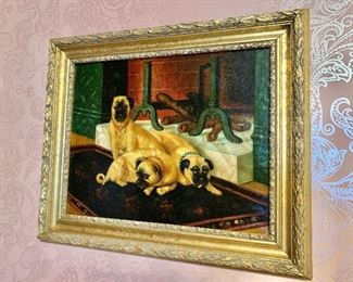 """$275 -  """"Antiqued"""" trio of dogs giclee - 22"""" H x 26"""" W."""