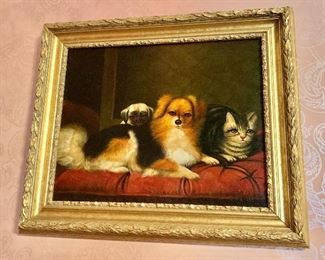 """$275  - """"Antiqued"""" dogs and cat giclee- 22"""" H x 26"""" W."""