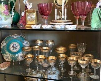 Elegant glassware & vintage decor