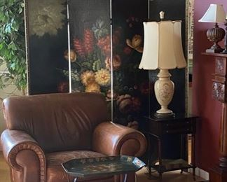 Lovely home furnishings throughout - Painted screen & leather armchair
