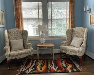 Upholstered Windsor chairs, European decorative rug, Baker Furniture Co. occasional table
