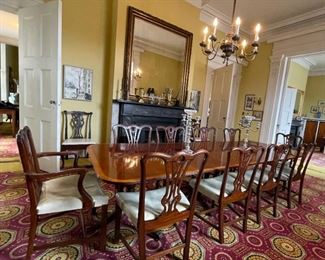 10 period Chippendale dining chairs, with 12' dining table
