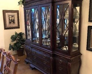 Classic wood and glass designer china cabinet