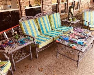 Beautiful outdoor patio bench, chairs, and table set. A lovely set for outdoor gatherings! Also bright and fun outdoor metal decor.