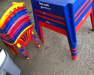 Plastic kids chairs and tables