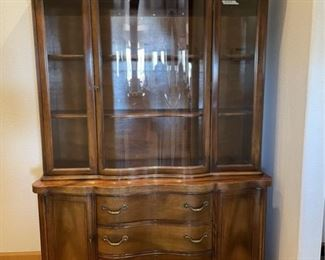 antique rounded glass china hutch