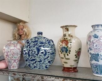 nice vases with a rather large barbie