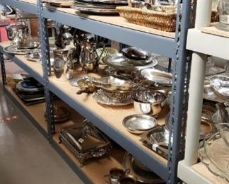 silver plated trays and such