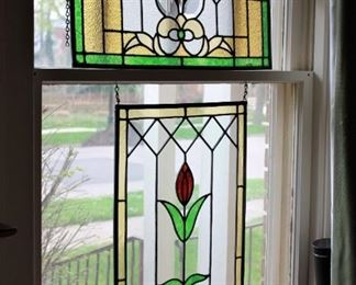 Antique leaded glass window panels