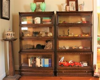 1906 Barrister bookcases with glass doors. All glass intact with working lower drawers.