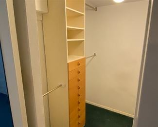 Mid Century Closet Shelving System (both sides of closet) $175; Globe Light $35