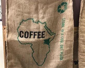 COFFEE BURLAP BAGS.  GREAT DECORATIVE WALL HANGINGS.