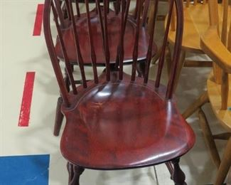 4 VINTAGE MAHOGANY WINDSOR CHAIRS.