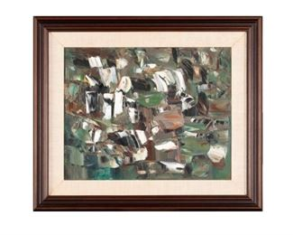 """Paul-Emile Borduas (Canadian, 1905-1960) """"Cry of the Little Frogs"""" (Le Cri des Rainettes) signed & dated 1953."""