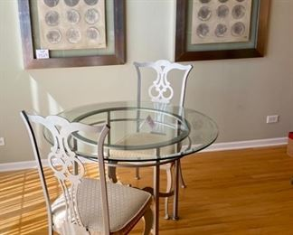 """Lot 7528. $795.00. Johnston Casuals Princeton 42"""" Round Beveled Glass Table with silver color metal base, 2 Princeton upholstered Dining chairs  19"""" W  x 41"""" H  x  21"""" D.  (On Sale at $1,940.00,  Chairs are $490.00 Ea and Table is $960.00). Made by Johnston Casuals Furniture Inc WIlkensboro, NC."""