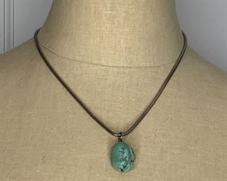 """Item #15  18"""" Snake chain with nugget pendant $10            ( no Silver hallmarks)"""