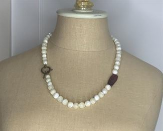 """#11   23"""" Mother of Pearl Bead Necklace $10"""