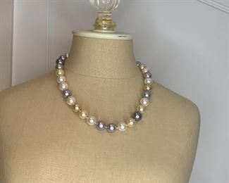 """#6 21"""" quality pastel large faux pearl necklace $10"""