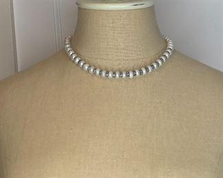 "#9 16"" Fresh water pearls with blue rhinestone spacers $10"