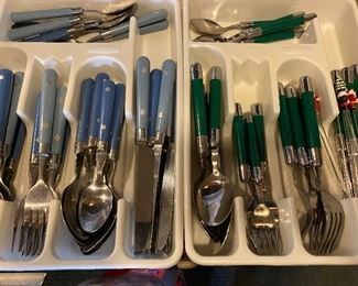 Blue Flatware $10  (green is sold)