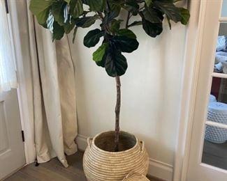 Nice Lidded Wicker Basket with Faux Ficus Tree