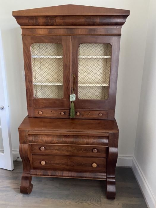 Farmhouse China Cabinet with Chicken Wire Doors