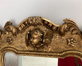 Exquisite French gilt mirror:  56 inches by 30 inches. Antique, excellent condition for its age.  $385