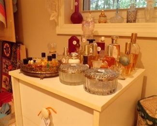 perfume bottle collection, also pill box collection