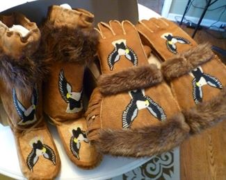 Ojibway Great Lakes Native American Beaded Gauntlets and Boots