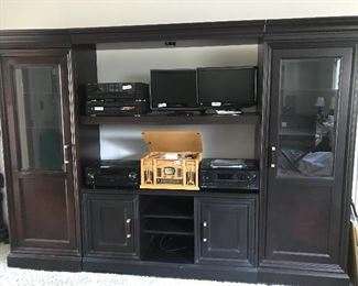 Entertainment center (4 pieces) and some of our stereo equipment