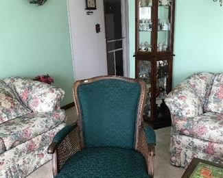 Upholstered arm chair- there is another one as well in a maroon color