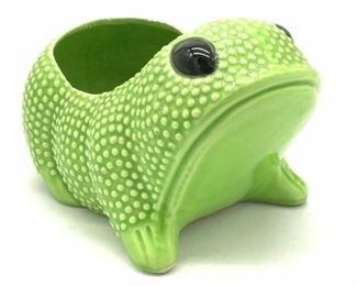 Glazed Ceramic Frog Form Cachepot