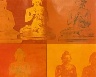 Offset Lithograph of Buddha Statues, Artwork